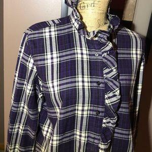 🌹Lauren Jeans Purple plaid shirt